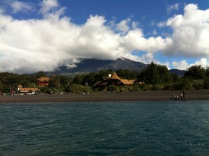 We took a boat ride on a lake at the base of the volcano.
