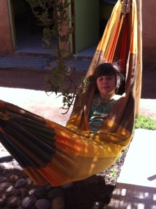Timothy hanging out in the hammock at the hostel