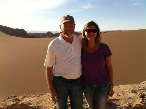 Dad and I in front of the mountain of sand
