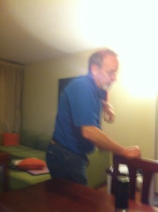 Horrible picture but this is Dad showing the boys what he has learned in karate!