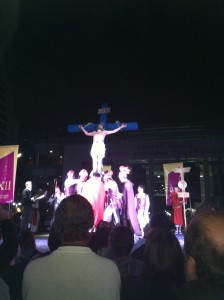 Jesus nailed to the cross.