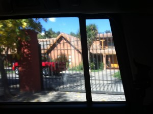 Another house seen through a car window with an iphone!